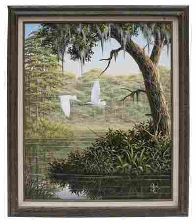 """Oil on canvas """"Snowy Egrets"""" signed BEN"""