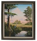 """189: Oil on canvas """" Great Blue Heron"""" signed BEN"""
