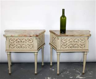Pair of painted Italian onyx top chevets