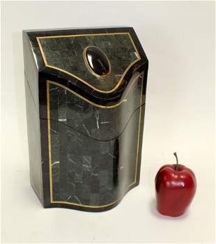 Maitland Smith tessellated marble knife box