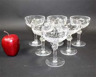 Set of 6 Waterford champagne coupe glasses
