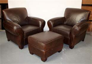 Pair La-Z-boy leather oversize armchairs with 1 ottoman