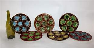Set of 6 French Sauzelle Majolica oyster plates