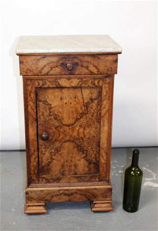 French Louis Philippe burled walnut night stand
