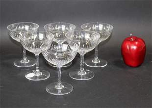 Set of 6 Baccarat crystal champagne coupes
