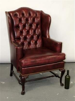 Hancock & Moore tufted leather wingback armchair