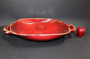 Tuscany Fortunata red glazed ceramic centerpiece bowl