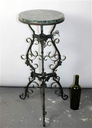 French verdigris wrought iron plant stand