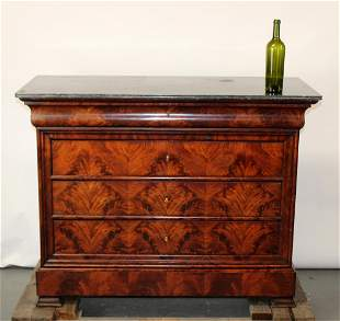 French Louis Philippe burled walnut commode