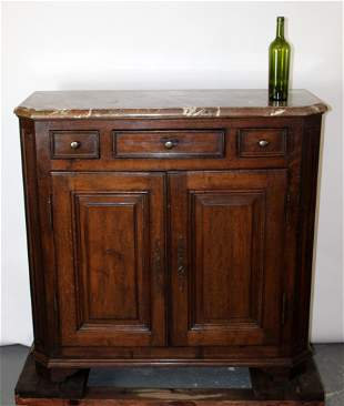 French Farmhouse buffet in oak with marble top