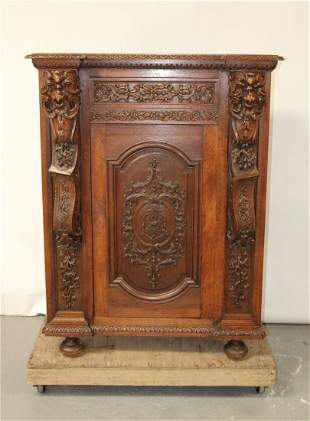Bavarian heavily carved oak cabinet