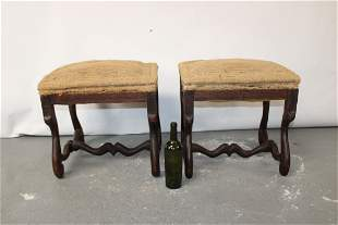 Pair French os du mouton walnut foot stools