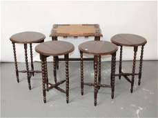 English nest of 4 tables in oak with bobbin legs