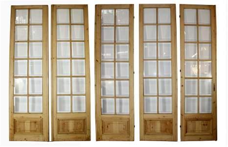 Set of 5 French pine beveled  glass doors