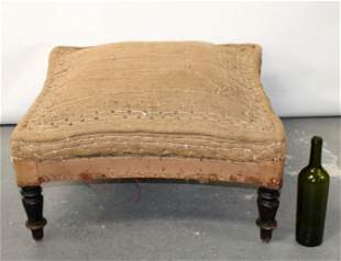 French Napoleon III foot stool ottoman on turned legs