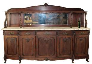 French Louis XV sideboard in carved walnut