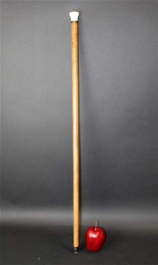 Antique English walking stick cane with inkwell
