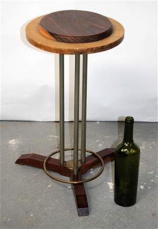 French Art Deco side table on stainless 3 column base