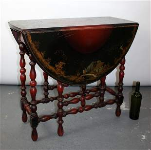 English drop side table with Chinoiserie top