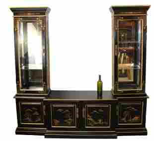 Ebonized Chinoiserie cabinet with vitrines