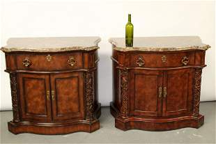 Pair Henredon marble top console side cabinets