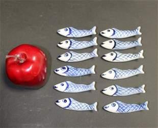 12 Genevieve Lethu porcelain fish chopstick rests