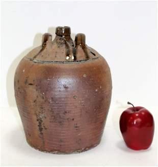 French slip glazed terra cotta jug with handles