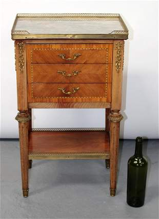 French Louis XVI style marble top chevet