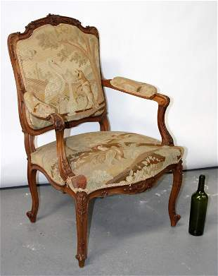 French Louis XV armchair with tapestry upholstery