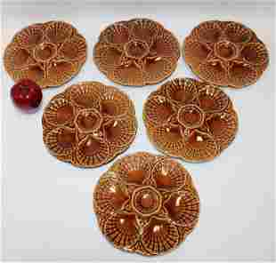 Set of 6 French Majolica Sarreguemines oyster plates