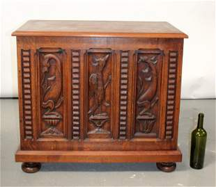 French carved oak trunk