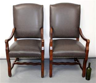 Pair of Frontgate leather upholstered armchairs