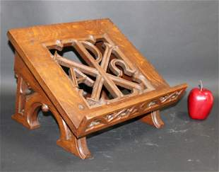 French Gothic Revival carved oak book stand