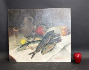 French oil on board still life painting with fish