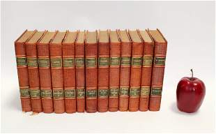 Lot of 13 French leather bound books