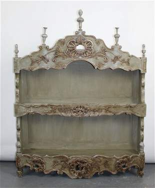 French Louis XV style painted estagnier (plate rack)