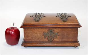 Antique French mahogany jewelry box with copper