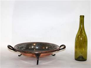 French antique copper tart pan with iron feet