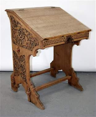 French Gothic Revival oak book stand lecturn