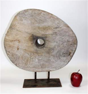 Antique Continental weathered wood industrial pulley