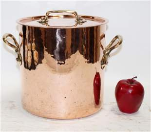 French copper lidded stock pot