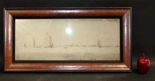 German watercolor on paper depicting harbor scene