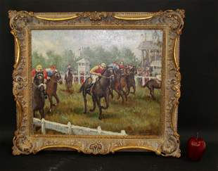 J. Valois oil on canvas Horse race scene