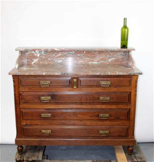 French oak wash stand with marble top