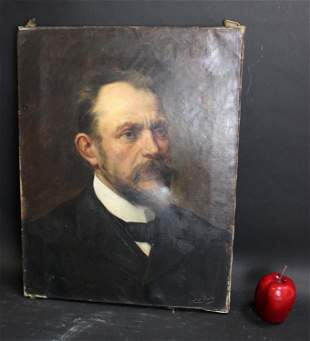 Antique oil on canvas portrait signed Ch Cuty 1902
