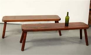 Pair French oak farmhouse benches