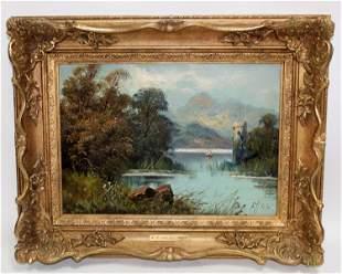 F. Hall Oil on canvas landscape scene