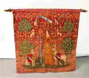 Woven tapestry after Lady and the Unicorn