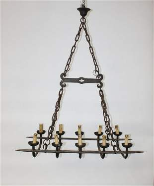 French forged iron 10-light chandelier