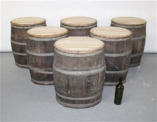 Set of 6 French barrel form stools